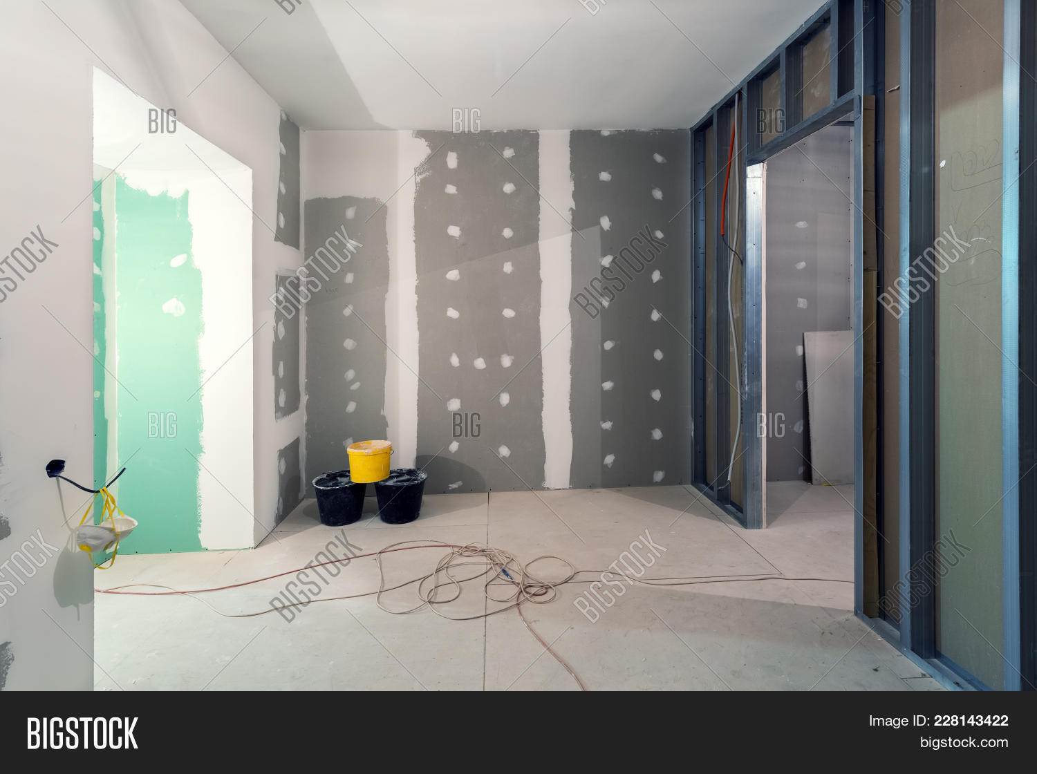 Working Process Of Installing Metal Frames And Plasterboard (drywall) For Gypsum Walls And Materials