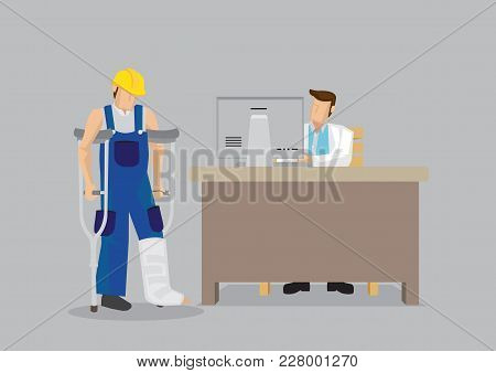 Cartoon worker character wearing yellow helmet and overall with leg in plaster cast uses crutches in seek medical treatment at doctor office. Vector illustration on work injury concept. stock photo