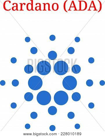 Vector Cardano (ADA) digital cryptocurrency logo. Cardano (ADA) icon. Vector illustration isolated on white background. stock photo
