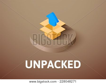 Unpacked icon, vector symbol in flat isometric style isolated on color background stock photo