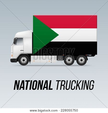 Symbol of National Delivery Truck with Flag of Sudan. National Trucking Icon and Sudanese flag stock photo