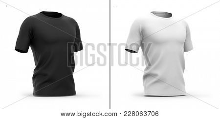 Men's crew neck t shirt with short sleeves. Half-front view.3d rendering. Clipping paths included: whole object, collar, sleeves. Shadows and highlights mock-up templates. stock photo