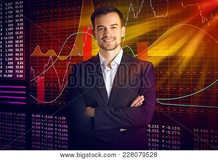Businessman and stock exchange quotes on background stock photo