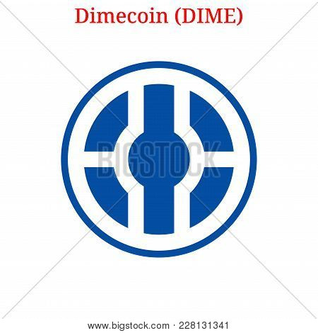 Vector Dimecoin (DIME) digital cryptocurrency logo. Dimecoin (DIME) icon. Vector illustration isolated on white background. stock photo