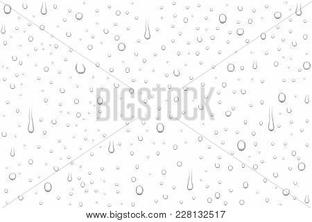 Vector realistic water drops on transparent background. Rain drops without shadows for transparent surface. Many forms and sizes. stock photo
