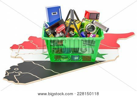 Map of Syria with shopping basket full of home and kitchen appliances, 3D rendering stock photo