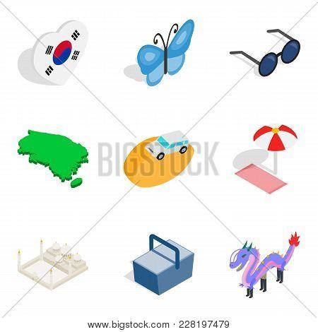 Suburban residence icons set. Isometric set of 9 suburban residence vector icons for web isolated on white background stock photo