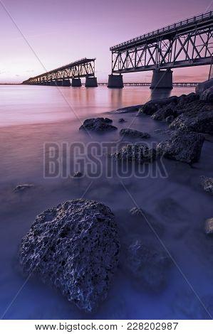 Bahia Honda Rail Bridge at sunset. Florida, USA. stock photo