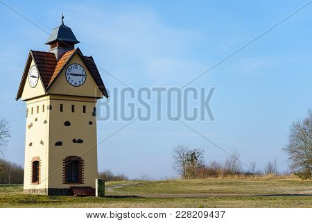 Clock Tower in one of the oldest villages in Germany - Gielsdorf (Altlandsberg). The first mention in the chronicles of 1375. Federal state of Brandenburg. stock photo