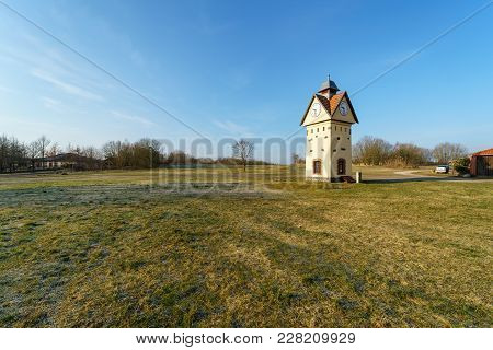 Clock Tower in one of the oldest villages in Germany - Gielsdorf (Altlandsberg). The first mention in the chronicles of 1375. Federal state of Brandundburg. stock photo
