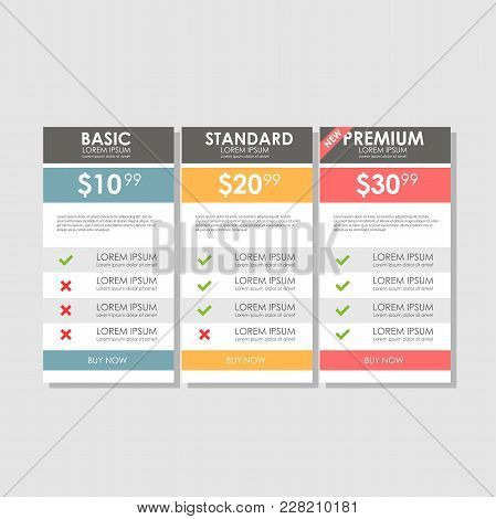 Set offer tariffs. ui ux vector banner for web app. set pricing table, order, box, button, list with plan for website in flat design stock photo