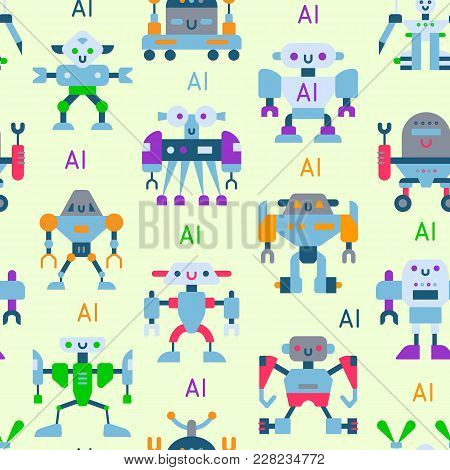 Robots vector cartoon robotic kids toy cute character monster or transformer cyborg robotics transform robotically seamless pattern background. stock photo