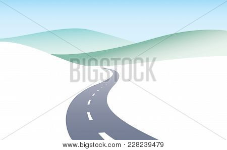 Country road curved highway vector perfect design illustration. The way to nature, hills and fields camping and travel theme. Can be used as a road banner or billboard with copy space for text. stock photo