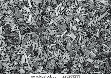 Abstract herbal background. Alpine meadow herbal tea texture background. Mix tea with dried fruits and dried flowers. Tea background stock photo