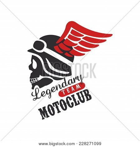 Legendary team motoclub logo, design element for motor or biker club, motorcycle repair shop, print for clothing vector Illustration isolated on a white background. stock photo