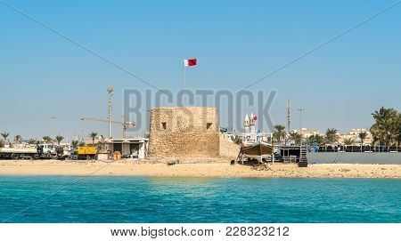 Bu Maher Fort on Muharraq Island in Bahrain. The Persian Gulf stock photo