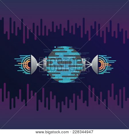 Vector illustration of sci-fi planet in space and radar dish station with sound or radio wave. Abstract digital blue planet icon with antena in flat style on background with sound wave equalizer. stock photo