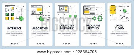 Vector set of vertical banners with Interface, Algorithm, Computer network, Program setting, Data cloud website templates. Modern thin line flat style design. stock photo