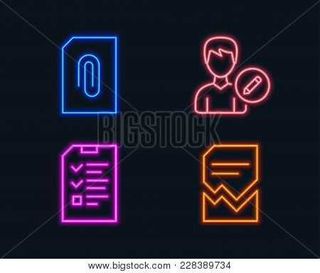 Neon lights. Set of Edit person, Attachment and Interview icons. Corrupted file sign. Change user info, Attach document, Checklist file. Damaged document.  Glowing graphic designs. Vector stock photo