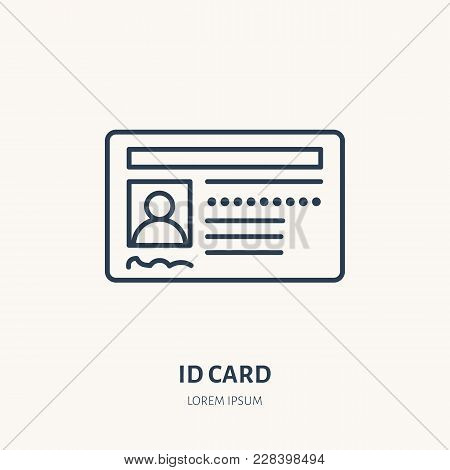 Documents, identity vector flat line icon. ID card, drivers license sign. stock photo