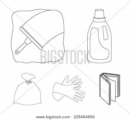 Gel for washing in a pink bottle, yellow gloves for cleaning, a brush for glass, a black bag for garbage or waste. Cleaning set collection icons in outline style vector symbol stock illustration . stock photo