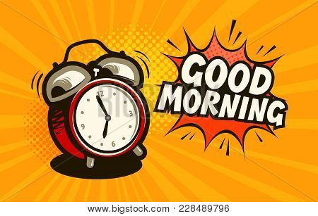 Good morning, banner. Alarm clock, wake-up time concept. Cartoon vector stock photo