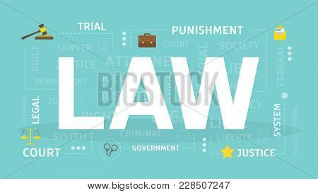 Law concept illustration. Idea of justice, legislation and system. stock photo