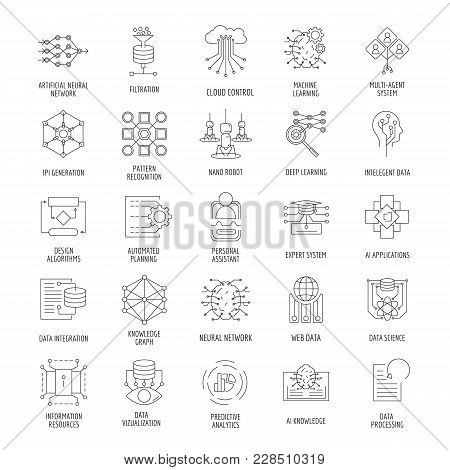Neural network outline icons set. Vector illustration with neural networks, nano robot, artificial intelligence. Objects for AI design and web stock photo