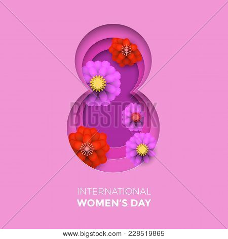 International Women's Day paper cut illustration with frame number eight for 8 March card. Happy Womens Day vector 3D paper cut out design with flowers on pink purple background card template stock photo