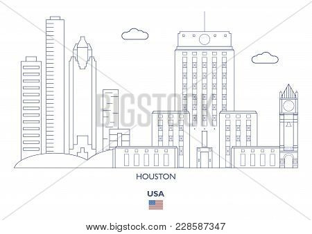 Houston Linear City Skyline, USA Famous places stock photo