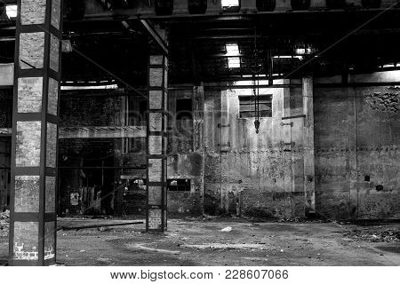 abandoned building interior, old warehouse in disrepair stock photo