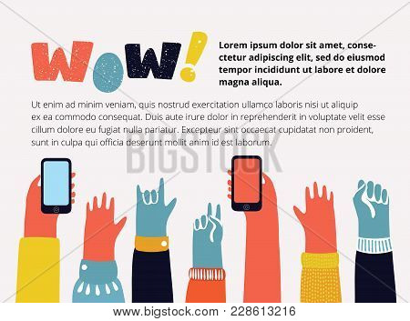 Vector cartoon illustration of colorful raising up hands with different gesture: peace, rock, fist. Comnunity people. Wow! Lettering banner in vintage colour stock photo