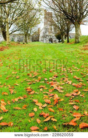 KILCREA, IRELAND - NOVEMBER 28: medieval Kilcrea Friary (Kilcrea Abbey) located near Ovens on November 28, 2012 in County Cork, Ireland stock photo