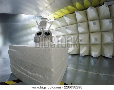 Helicopter drone electromagnetic compatibility testing inside GTEM cell stock photo