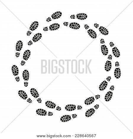 Black Footprints Silhouette Round Design Template Texture Pattern Pairs Shoes. Vector illustration of Foot Print stock photo