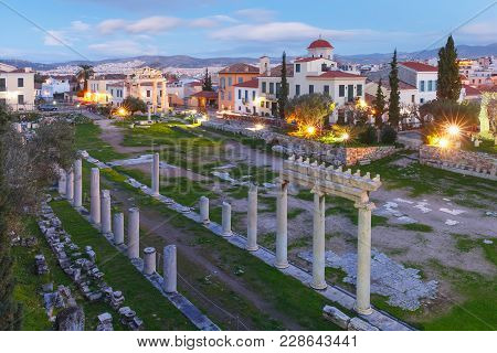 Gate of Athena Archegetis and remains of the Roman Agora built in Athens during the Roman period, Athens, Greece stock photo