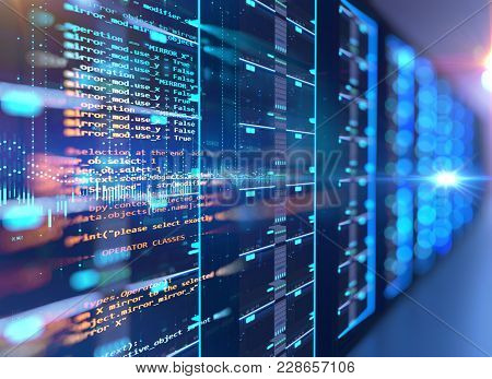 Server Room 3D Illustration With Programming Data  Design Element.