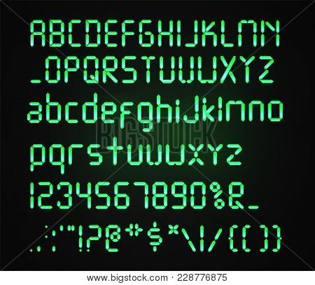 Digital green font Isolated on a dark background. Glowing realistic Digital alphabet. Alarm clock letters. Numbers and letters set for a digital watch and other electronic devices. Vector alphabet stock photo