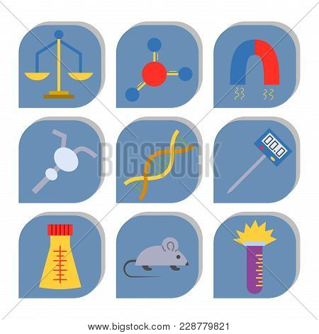 Lab vector symbols test medical laboratory scientific biology design molecule biotechnology science chemistry icons illustration. Experiment research equipment. stock photo