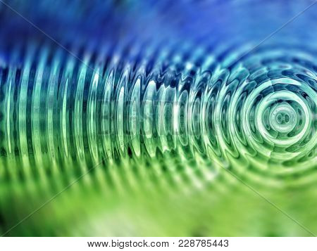 Resonate ,spread, vibration or ripple abstract in green. stock photo