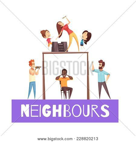 Neighbors design concept with angry man  exasperated at his neighbor with drill cartoon vector illustration stock photo