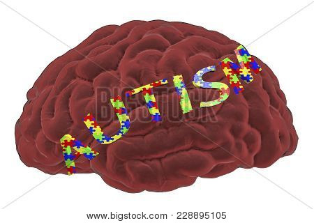 Autism awareness and autistic disorders concept, 3D illustration. Human brain and autism word made of jigsaw puzzles stock photo
