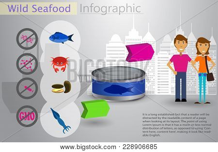 Cool vector flat design fishing infocraphic. Seafood and commercial fishing vessel creative illustration stock photo