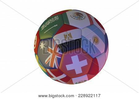 Isolated realistic football with flags of countries, in the center of Egypt, Argentina, Australia and Switzerland, 3d rendering stock photo