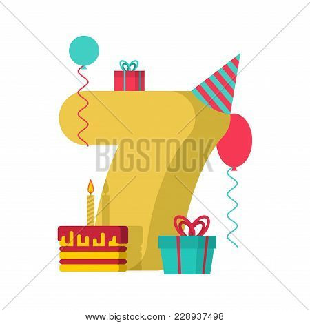 7 year Happy Birthday greeting card. 7th anniversary celebration Template. seven number and festive piece of cake with candle. Balloon and Gift box. stock photo