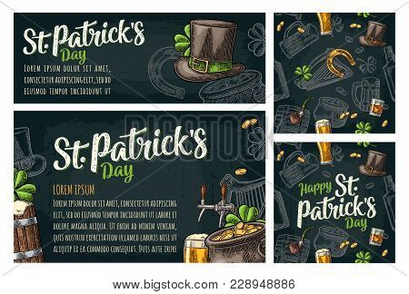 Seamless pattern and poster for beer party. Top hat, pot gold coins, pipe, glass, lyre, horseshoe, clover, barrel. St. Patrick's Day lettering. Vintage color vector engraving illustration on dark stock photo