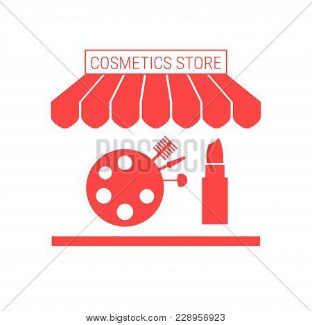 Cosmetics Store, Beauty Shop Single Flat Vector Icon. Striped Awning and Signboard. A Series of Shop Icons. stock photo