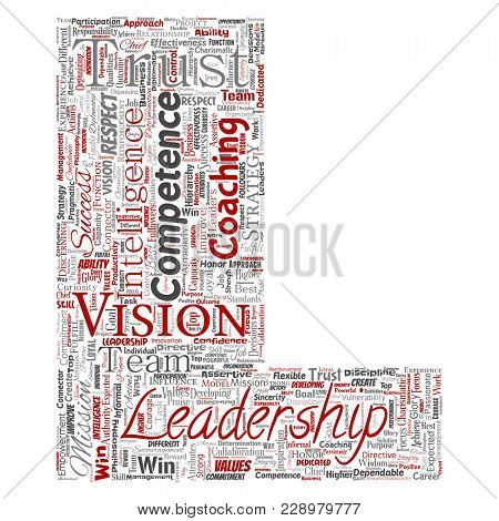 Conceptual business leadership strategy, management value letter font L word cloud isolated background. Collage of success, achievement, responsibility, intelligence authority or competence stock photo