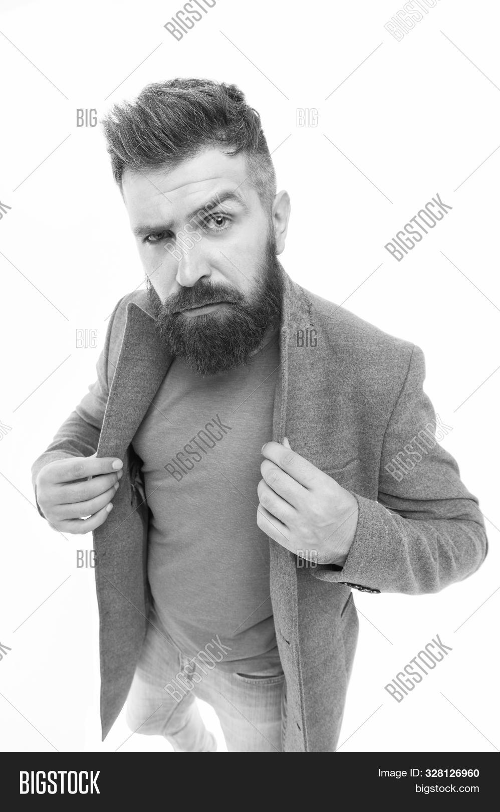 Stylish Casual Outfit. Bearded Hipster Stylish Fashionable Jacket. Man Wear Casual Jacket. Consultat
