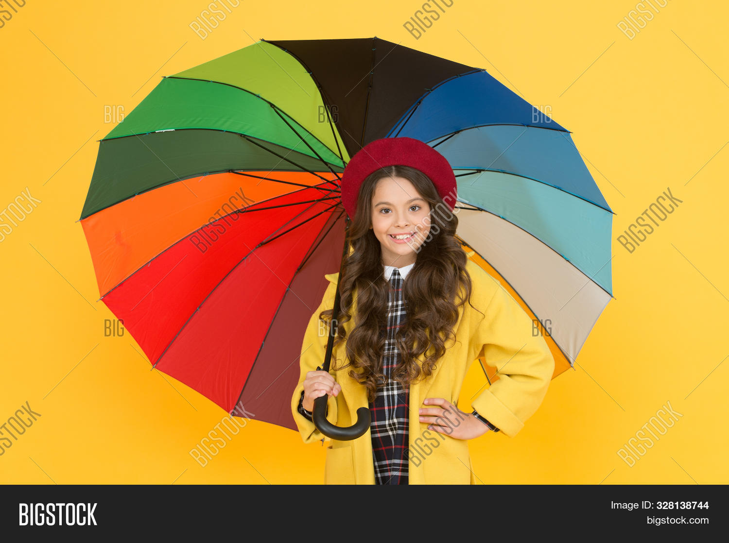 Waiting for it to rain. Small child hold open umbrella. Rain accessory. Little girl in raincoat with fashion accessory. Accessory for rainy autumn season. The perfect accessory to keep her protected.